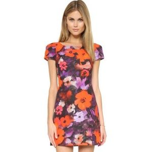 Milly cap sleeve floral print sheath dress.